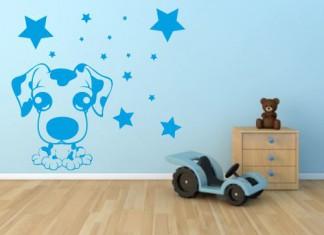vinilo infantil perro y estrellas