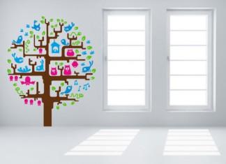 vinilo infantil árbol multicolor