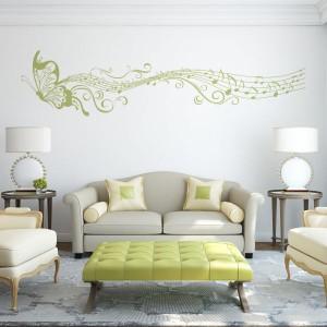 Vinilo decorativo mariposa musical