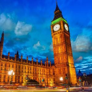 Lights of Big Ben Tower in London